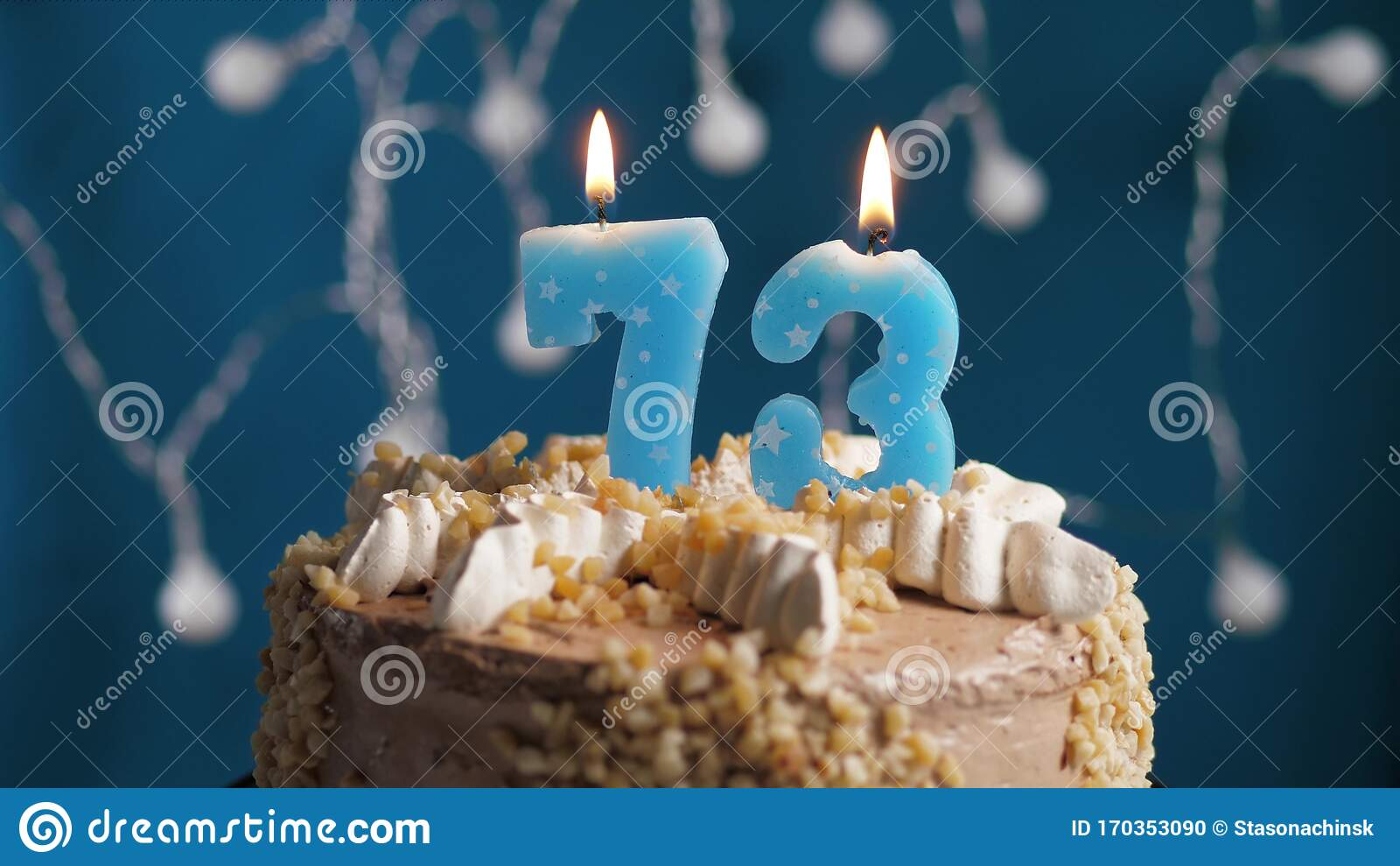 Strange Birthday Cake With 73 Number Candle On Blue Backgraund Candles Funny Birthday Cards Online Unhofree Goldxyz