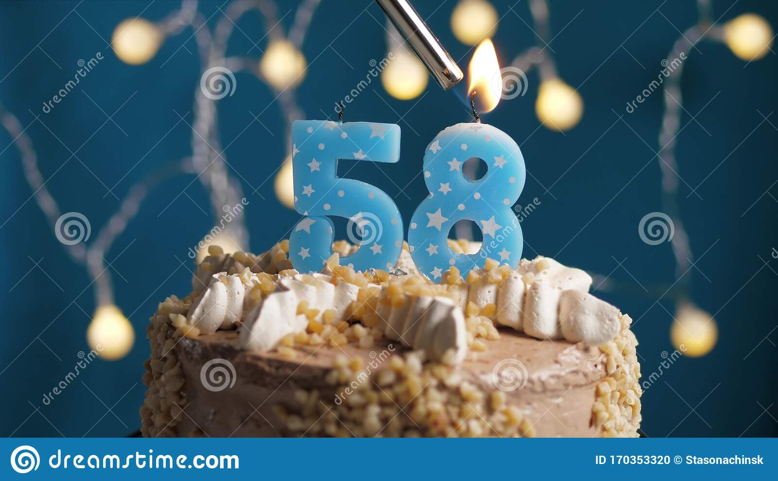Pleasing Birthday Cake With 58 Number Candle On Blue Backgraund Candles Birthday Cards Printable Nowaargucafe Filternl