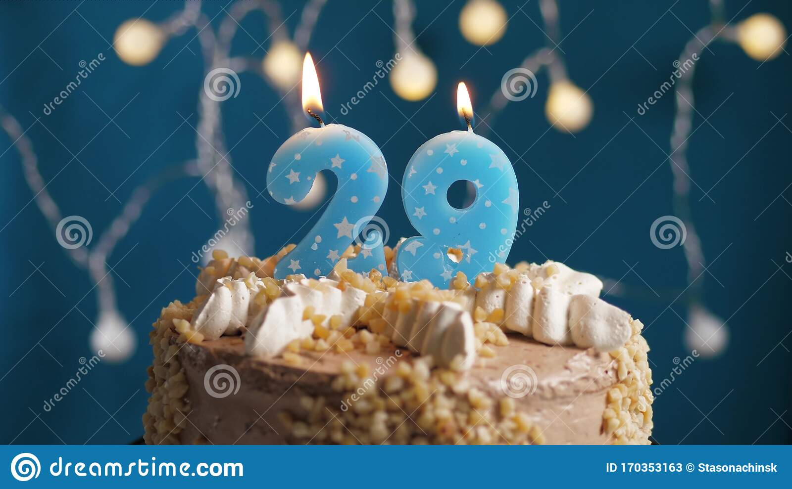 Wondrous Birthday Cake With 29 Number Candle On Blue Backgraund Stock Image Personalised Birthday Cards Arneslily Jamesorg