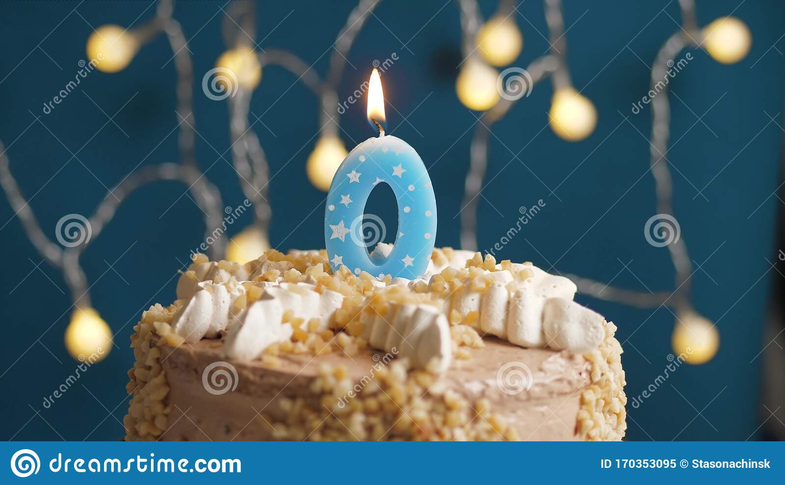 Superb Birthday Cake With 0 Number Candle On Blue Backgraund Candles Funny Birthday Cards Online Unhofree Goldxyz