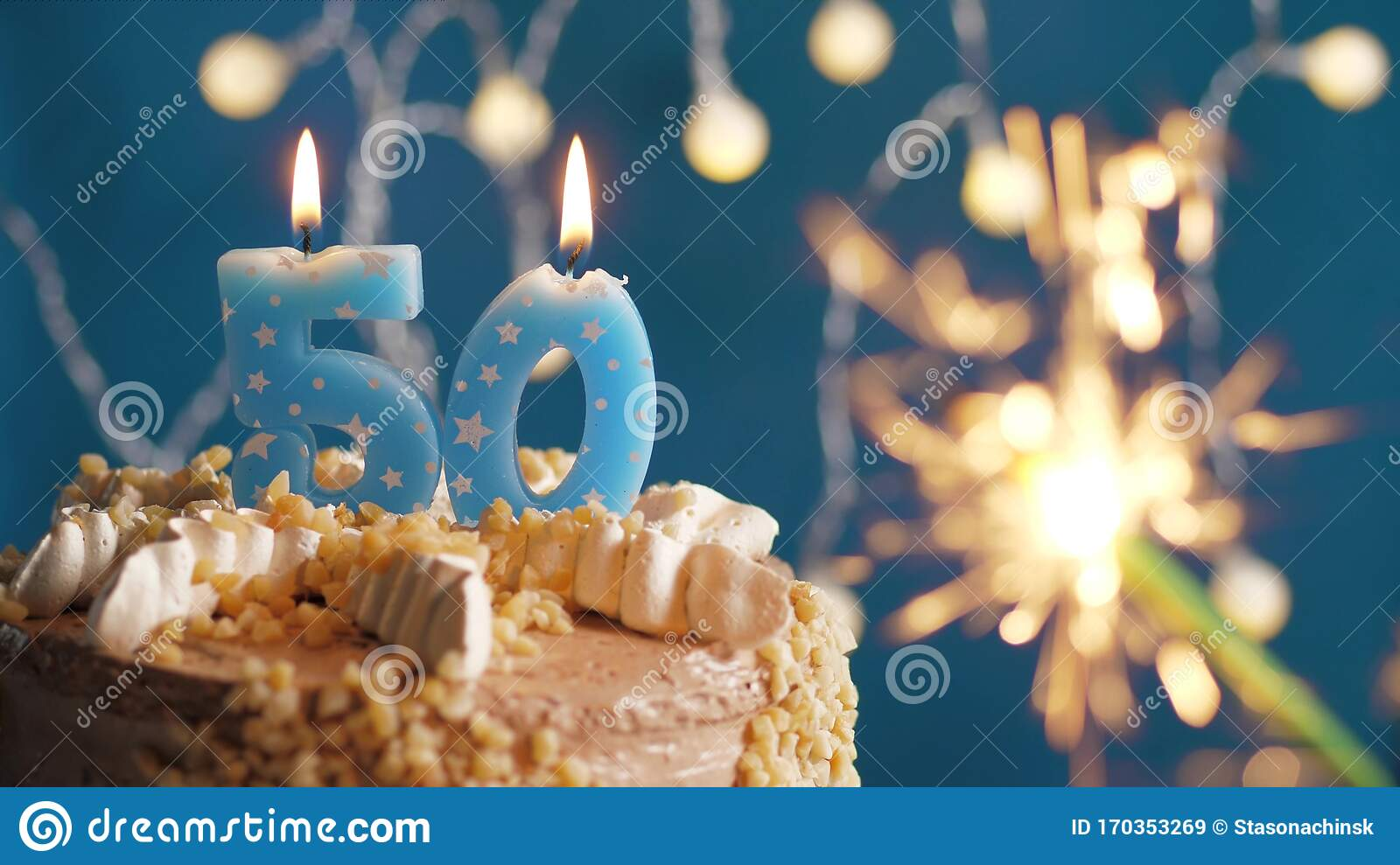 Remarkable Birthday Cake With 50 Number Candle And Sparkler On Blue Personalised Birthday Cards Akebfashionlily Jamesorg