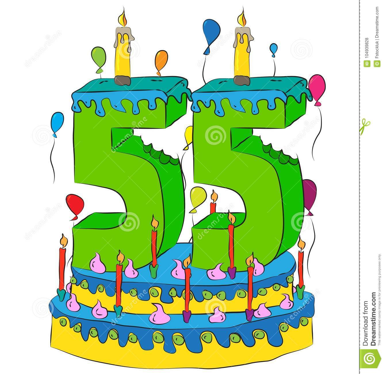 55 Birthday Cake With Number Fifty Five Candle Celebrating Fifth Year Of Life Colorful Balloons And Chocolate Frosting