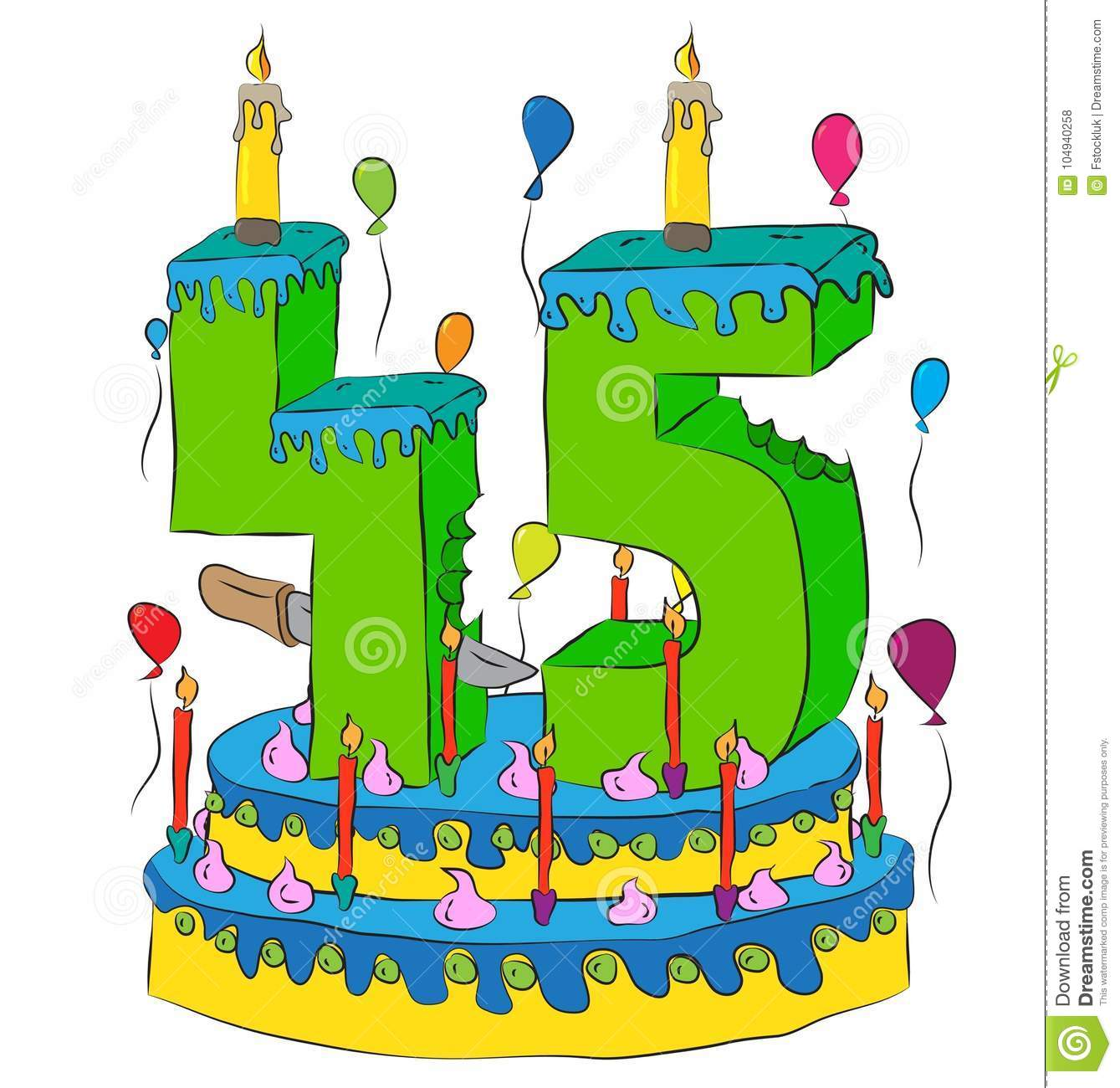 45 Birthday Cake With Number Forty Five Candle Celebrating Fifth Year Of Life Colorful Balloons And Chocolate Frosting