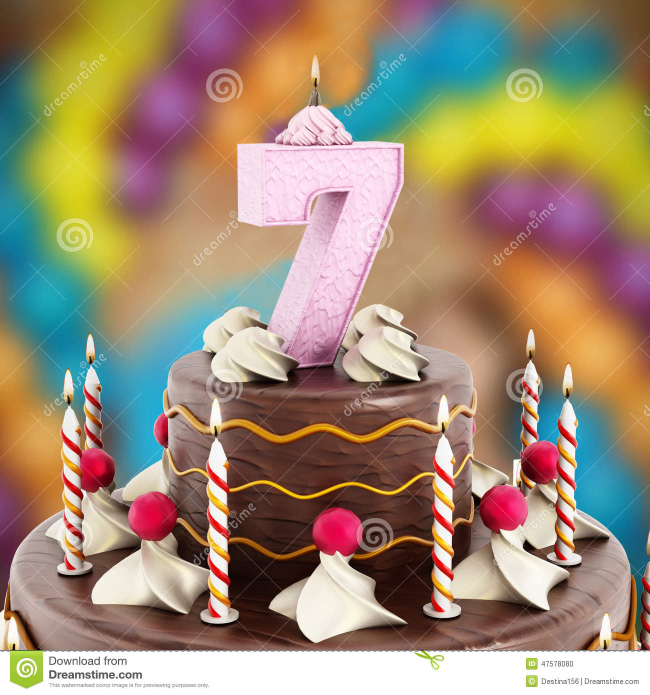 Birthday Cake With Number 7 Lit Candle Stock Illustration