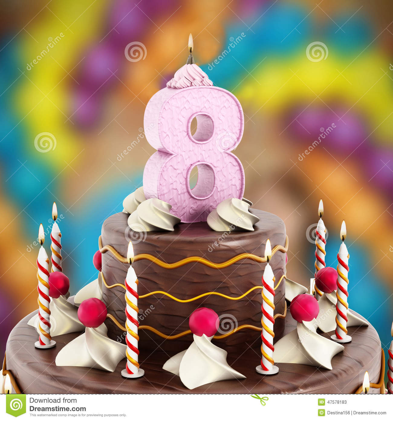 Birthday Cake With Number 8 Lit Candle Stock Image Image Of Family