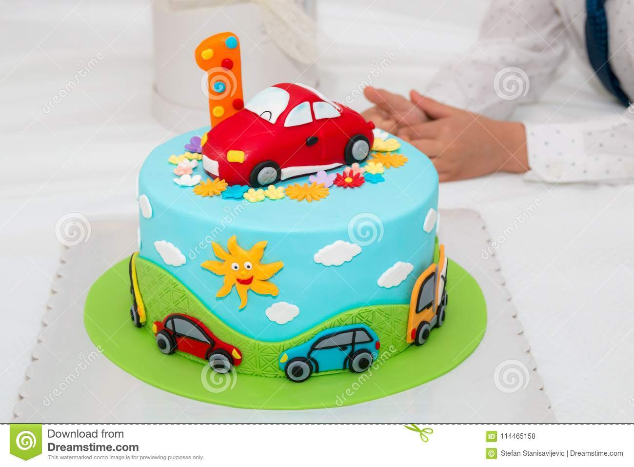 Enjoyable Birthday Cake With Number One Stock Photo Image Of Background Funny Birthday Cards Online Alyptdamsfinfo