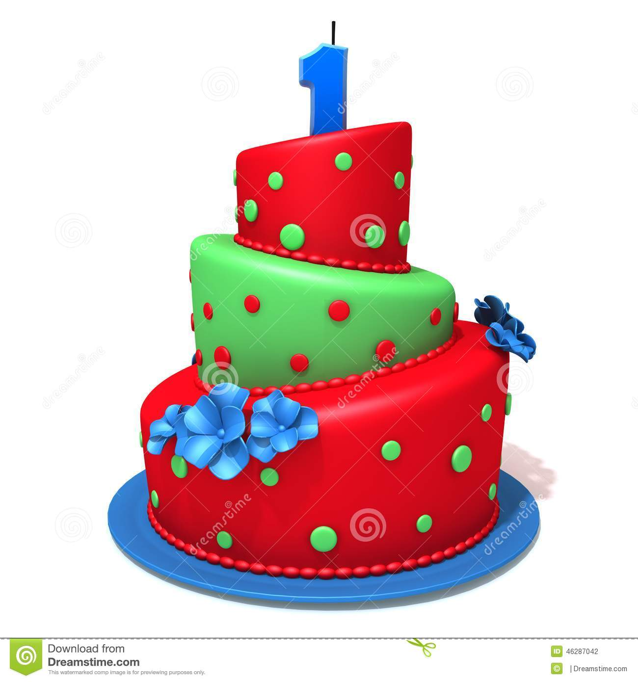 Birthday Cake With Number One Stock Illustration Image