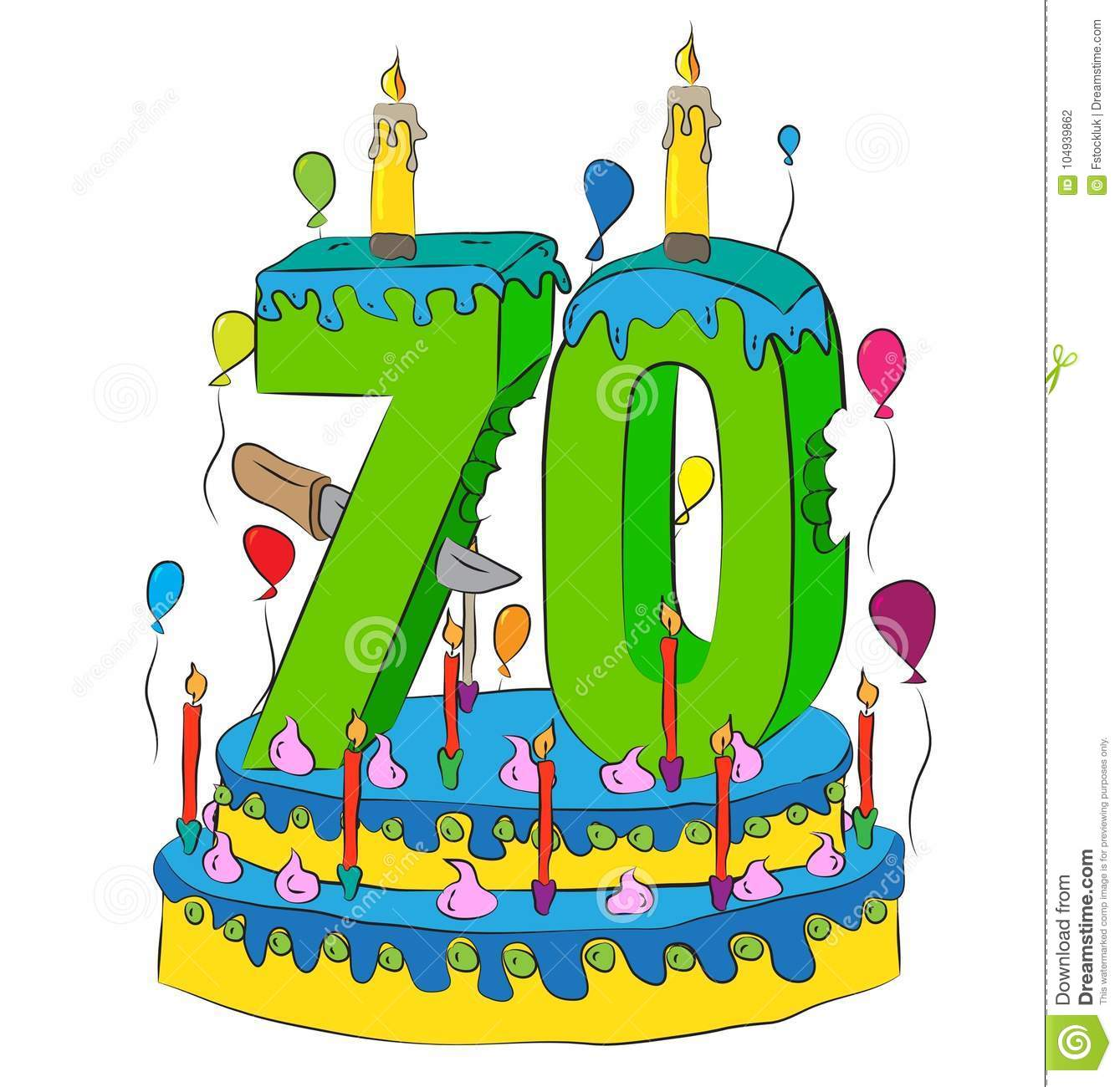 70 Birthday Cake With Number Seventy Candle Celebrating Seventieth Year Of Life Colorful Balloons