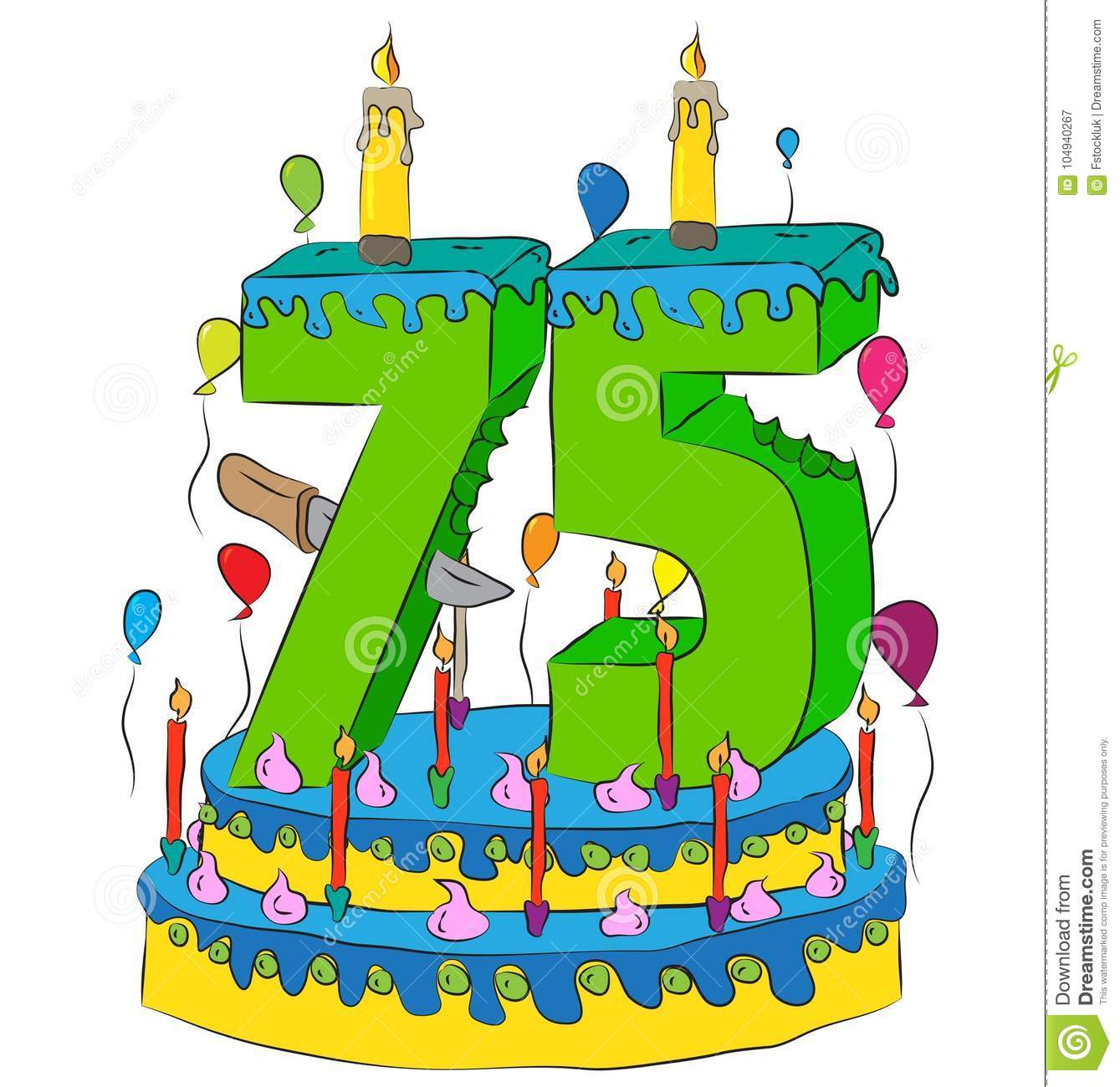 75 Birthday Cake With Number Seventy Five Candle Celebrating Fifth Year Of Life Colorful Balloons And Chocolate Frosting