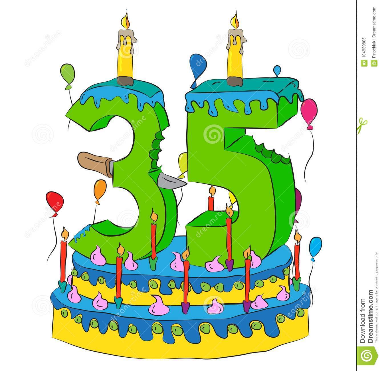 35 Birthday Cake With Number Thity Five Candle Celebrating Thirty Fifth Year Of Life Colorful Balloons And Chocolate Frosting