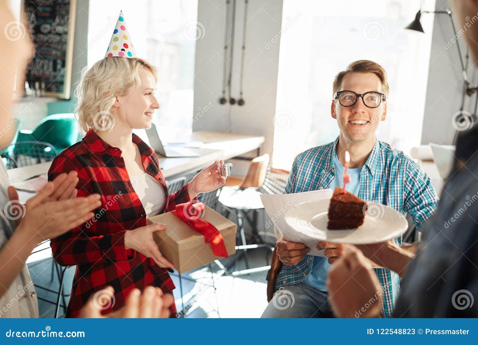 Birthday Cake In Office Stock Image Image Of Joyful 122548823