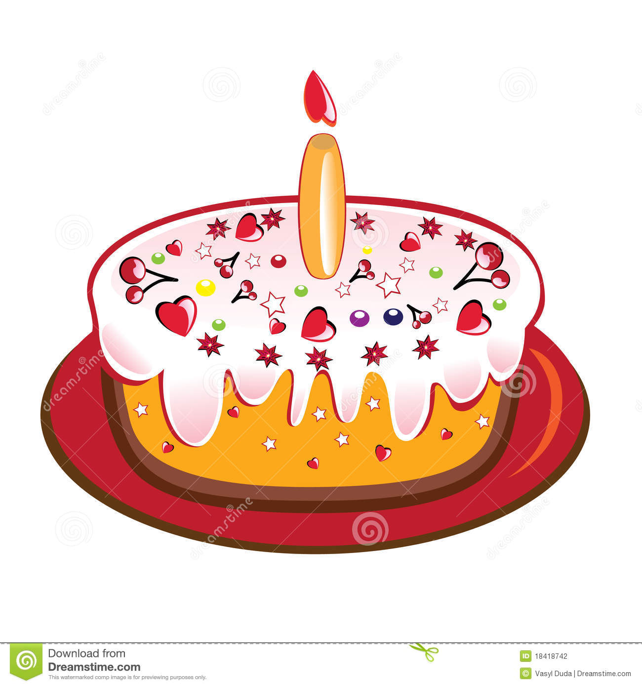 Image Of Birthday Cake With One Candle : Birthday Cake From One Candle. Stock Photography - Image ...