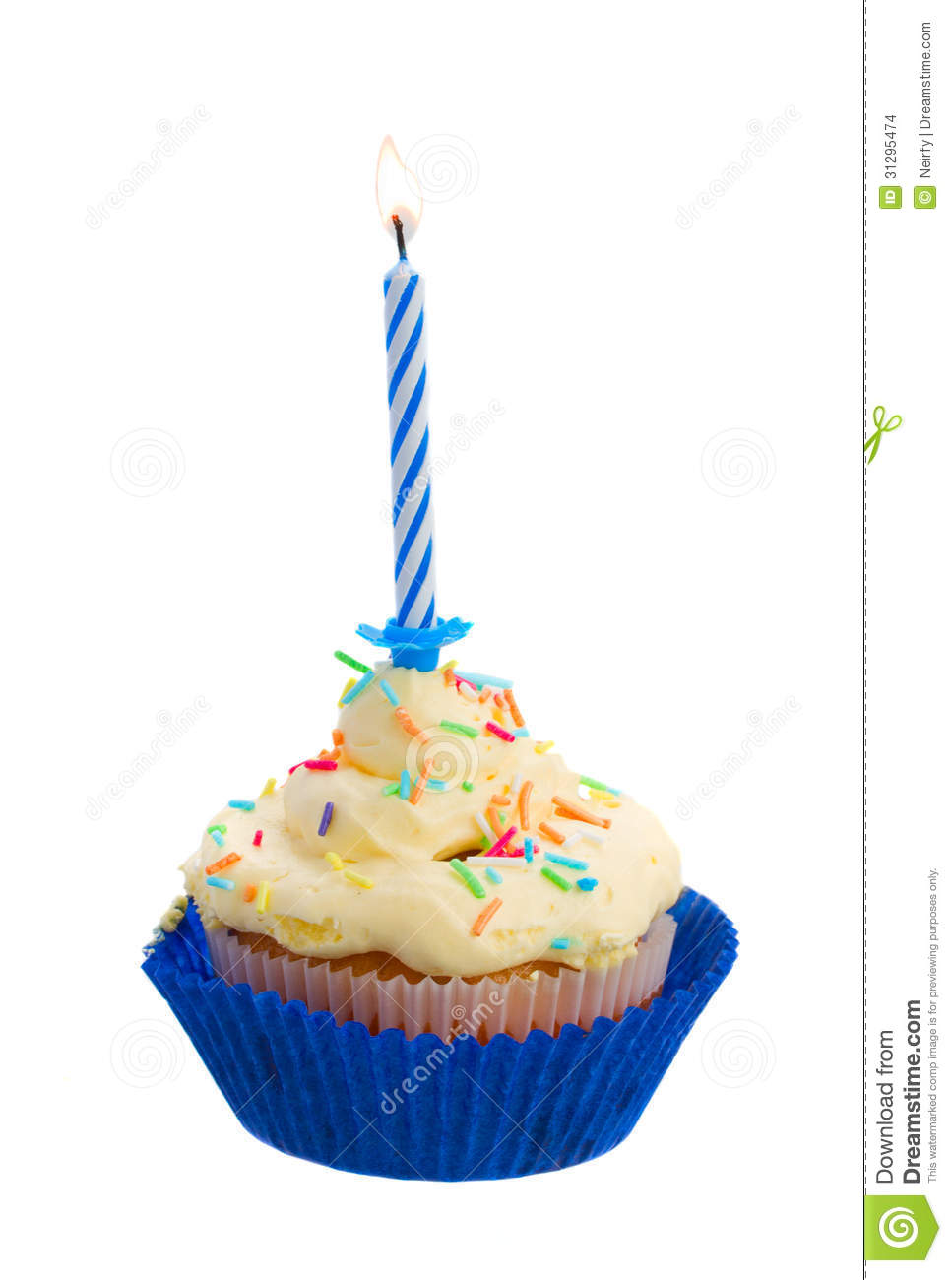 Birthday Cake With One Candle Stock Images Image 31295474