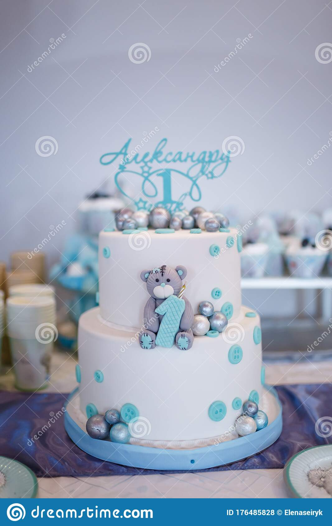 Birthday Cake For One Year Old Boy Teddy Bear Cartoon Character Shape And Blue Decorations Of Mastic Candy Bar Editorial Stock Photo Image Of Cute Background 176485828