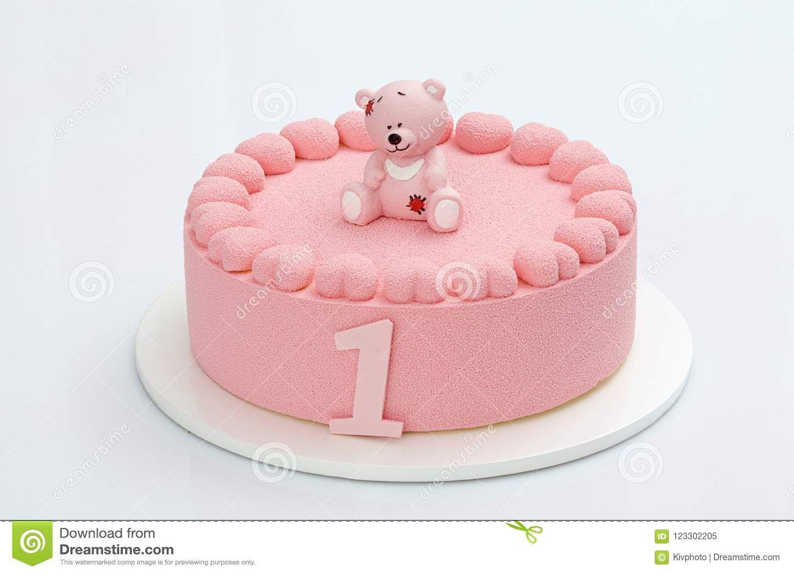 Pleasant Birthday Cake One Year Old Stock Image Image Of Birthday Pink Funny Birthday Cards Online Inifodamsfinfo