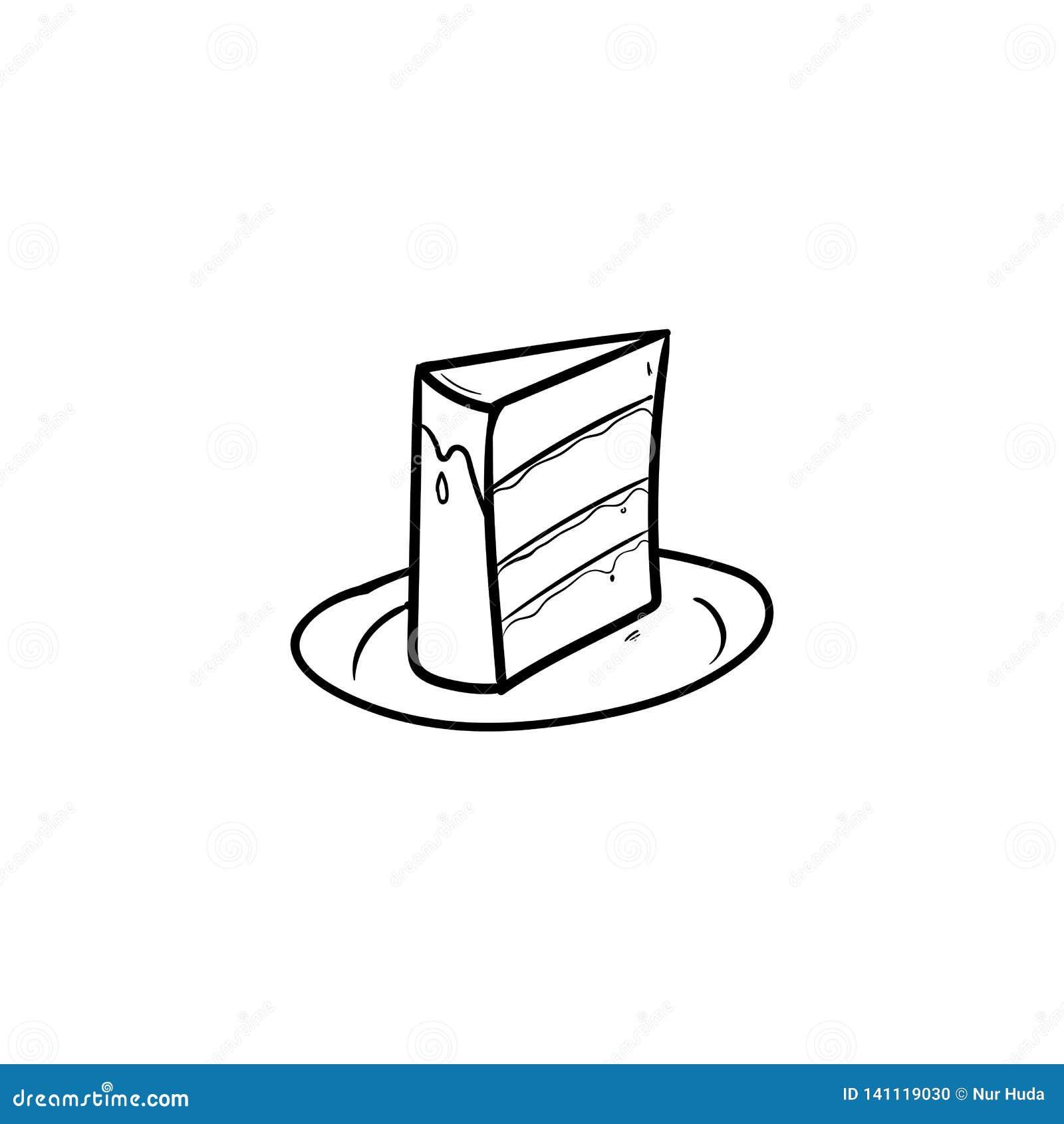 Sensational Birthday Cake With Outline Using Doodle Art Stock Vector Funny Birthday Cards Online Hendilapandamsfinfo