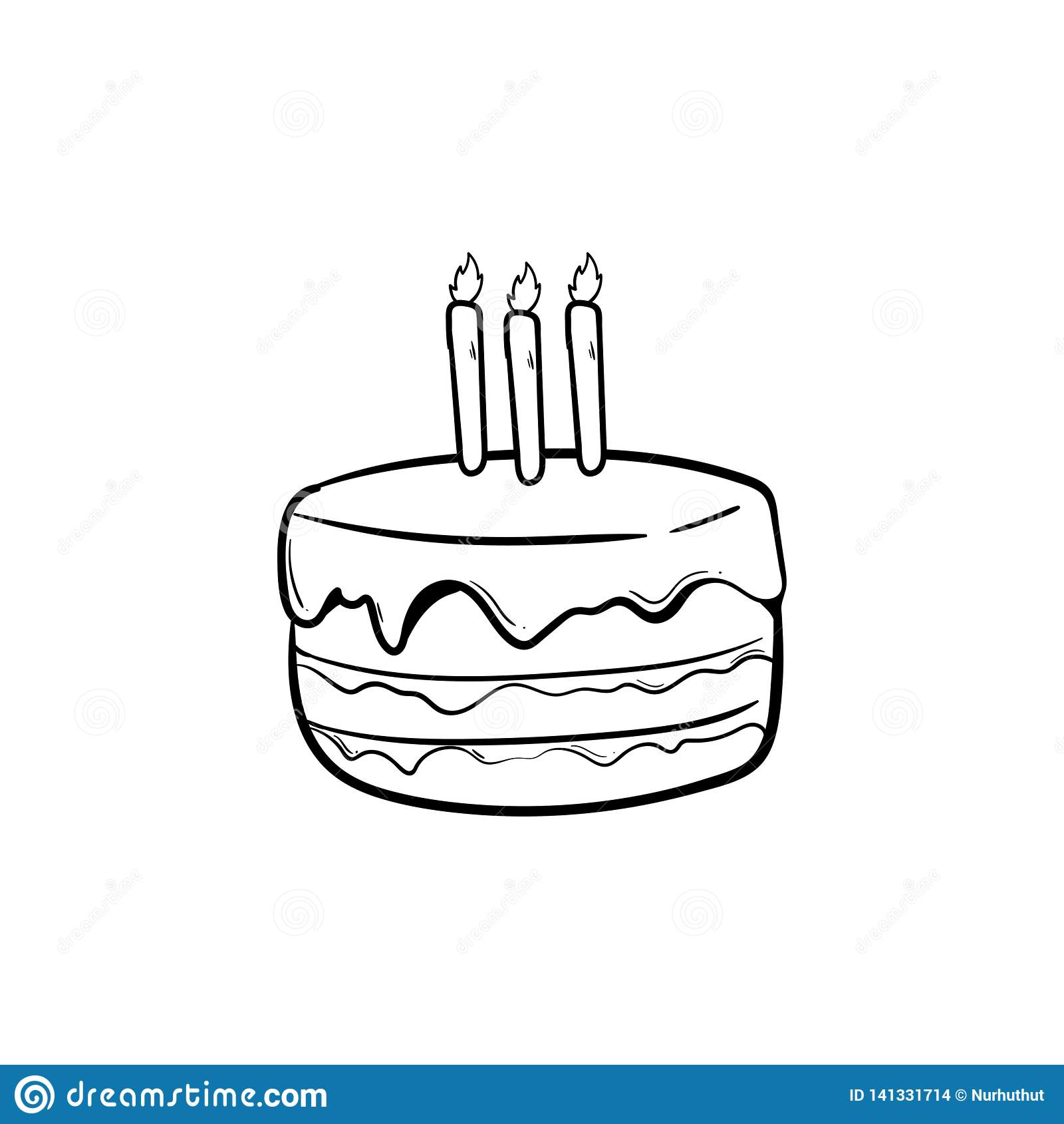 Cool Birthday Cake With Outline Using Doodle Art Stock Vector Funny Birthday Cards Online Bapapcheapnameinfo