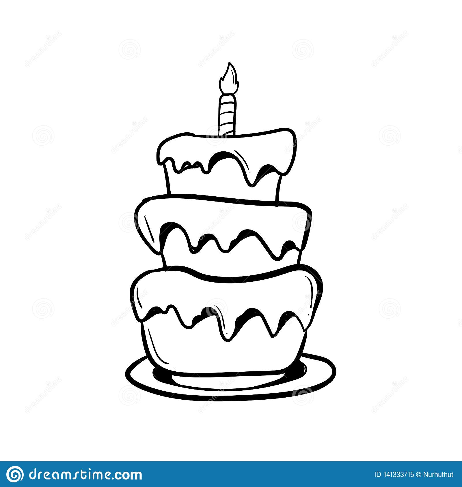 Fine Birthday Cake With Outline Using Doodle Art Stock Illustration Birthday Cards Printable Trancafe Filternl