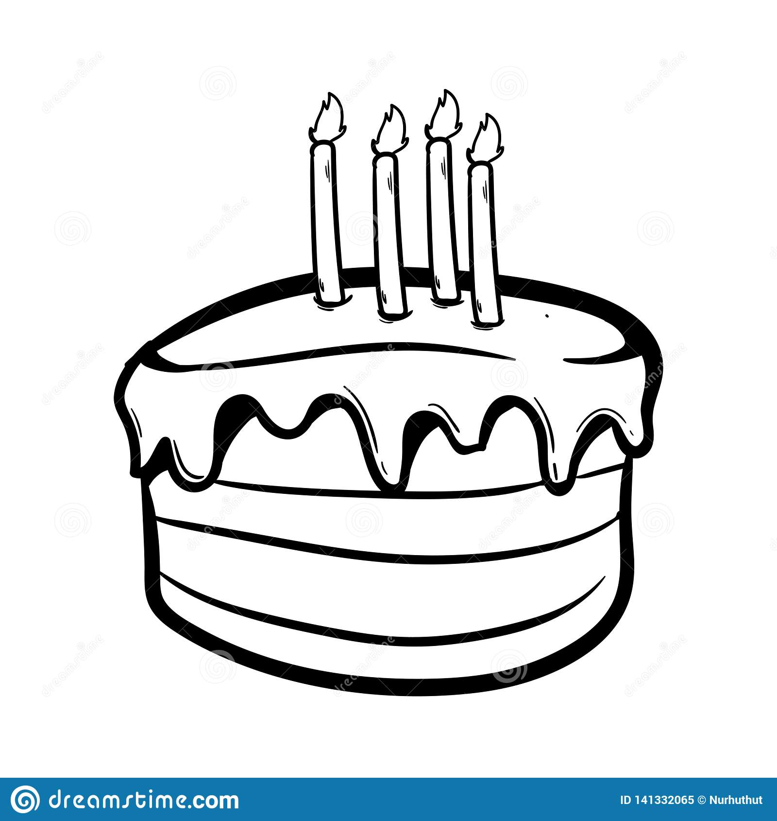 Awe Inspiring Birthday Cake With Outline Using Doodle Art Stock Illustration Funny Birthday Cards Online Alyptdamsfinfo