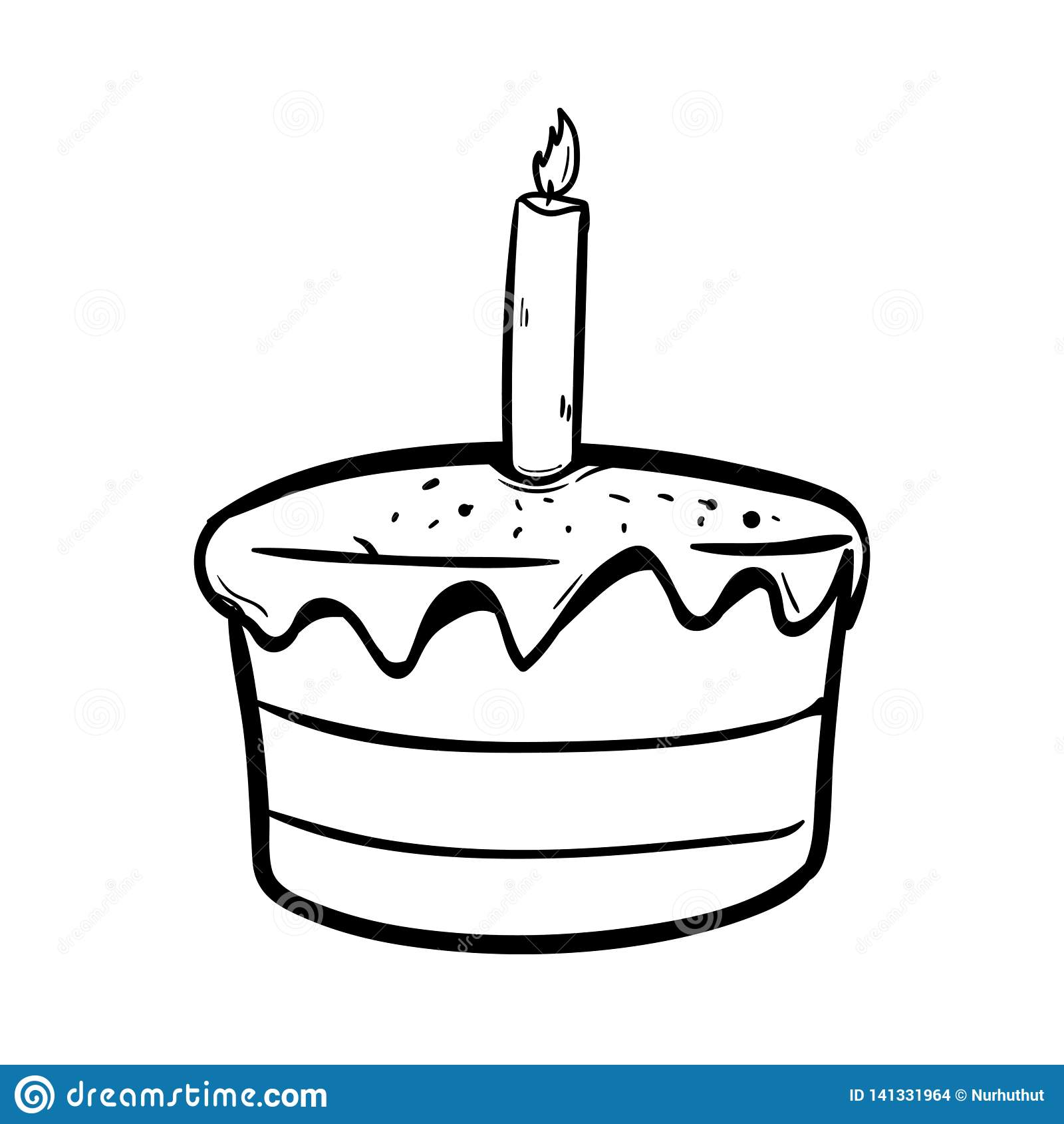 Strange Birthday Cake With Outline Using Doodle Art Stock Illustration Funny Birthday Cards Online Alyptdamsfinfo