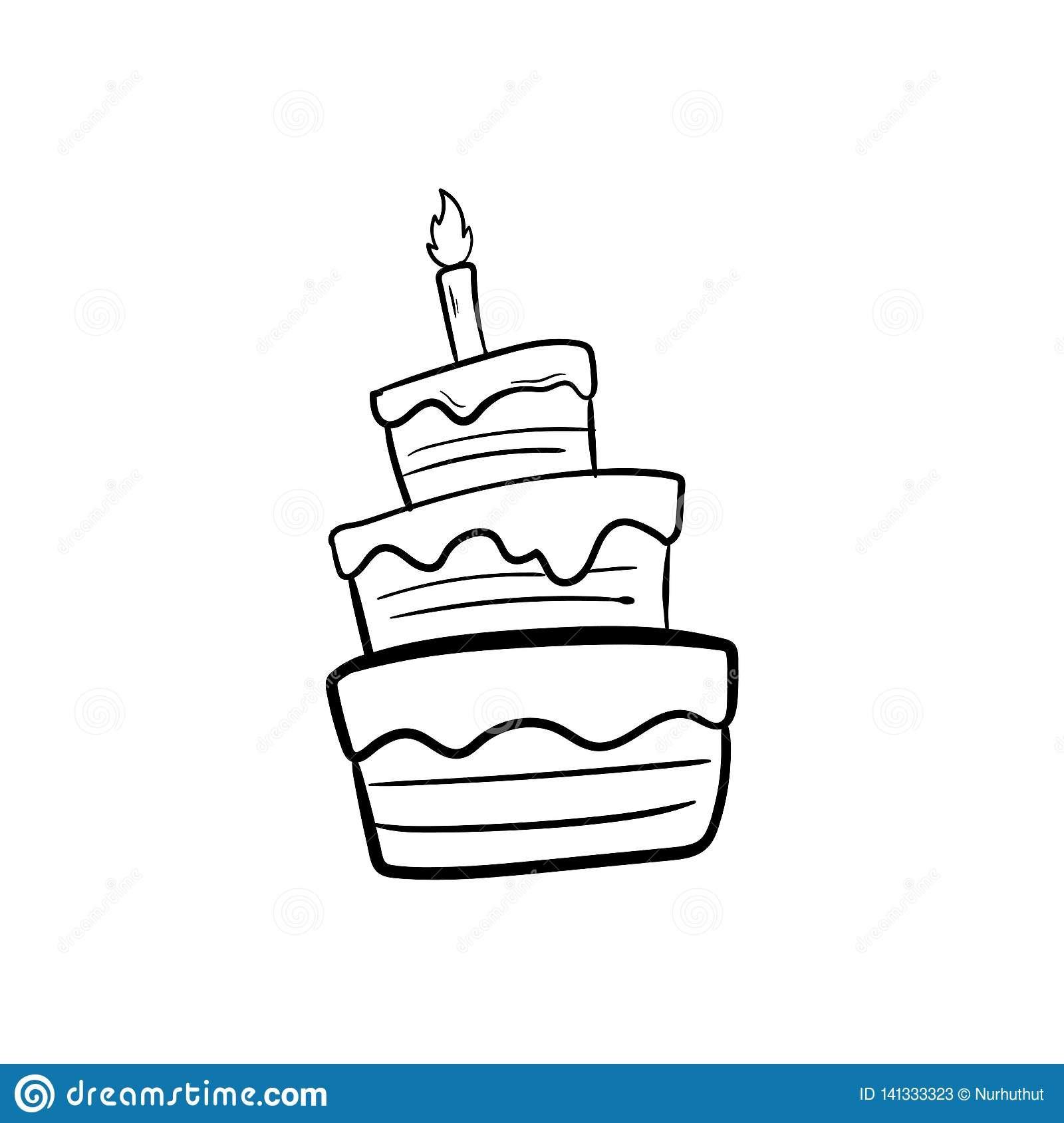 Tremendous Birthday Cake With Outline Using Doodle Art Stock Vector Birthday Cards Printable Trancafe Filternl