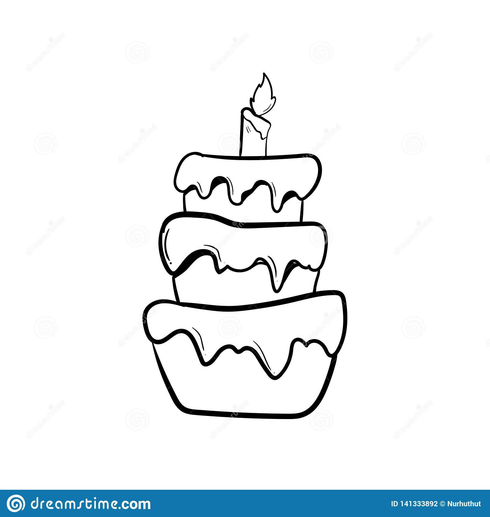 Incredible Birthday Cake With Outline Using Doodle Art Stock Illustration Birthday Cards Printable Trancafe Filternl