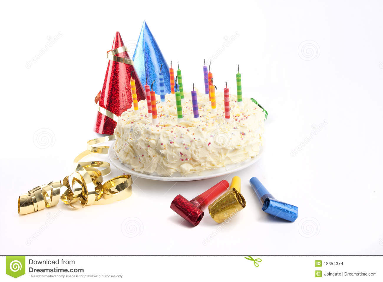 Birthday Cake And Party Stuff Stock Images - Image: 18654374