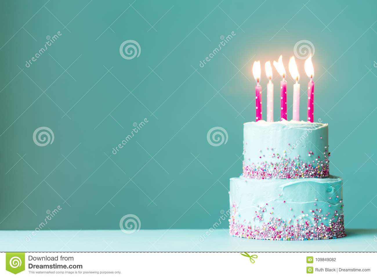 Magnificent Birthday Cake With Pink Candles Stock Photo Image Of Copy Funny Birthday Cards Online Inifofree Goldxyz