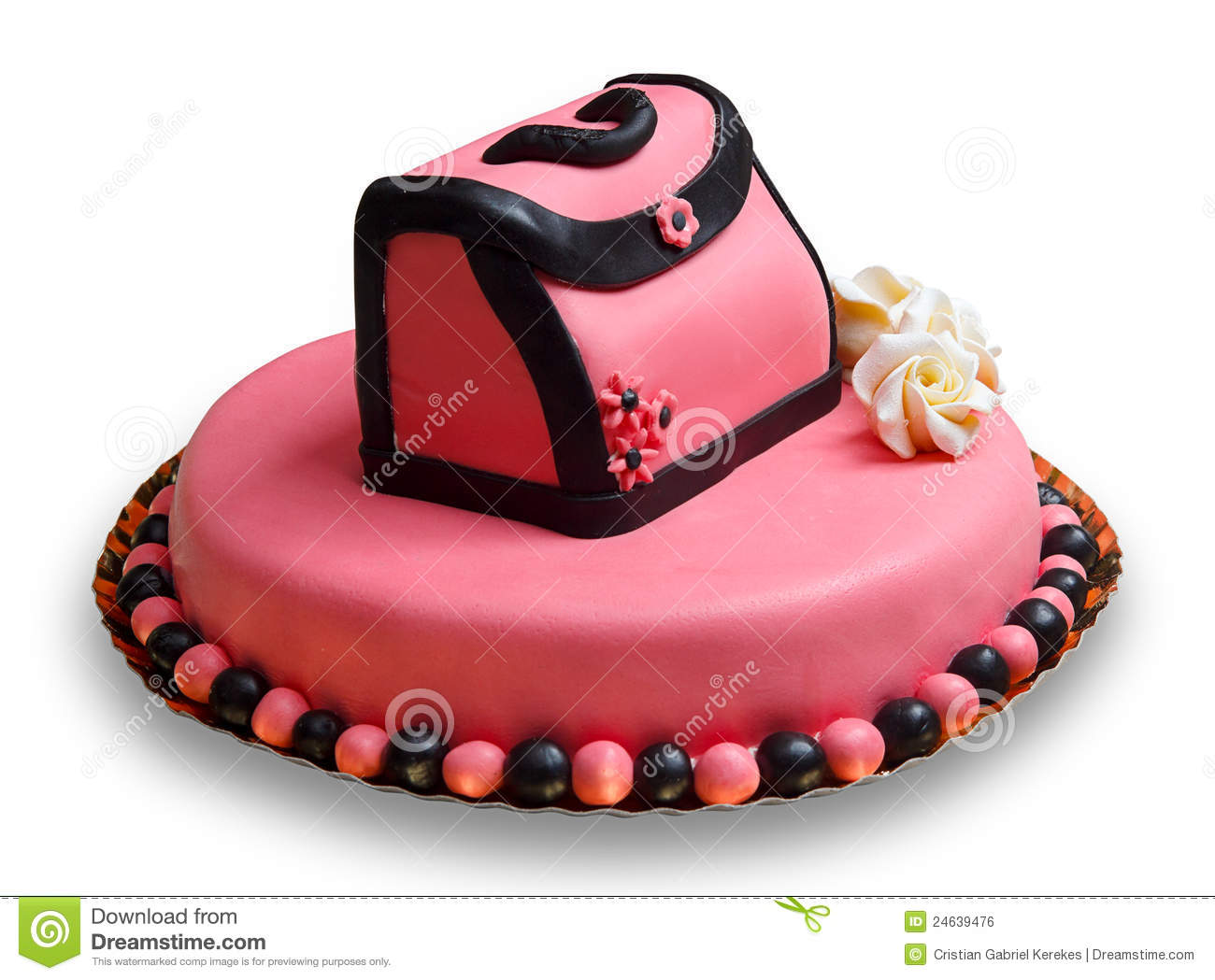 Birthday Cake With Pink Frostingdecorated Handbag Royalty Free