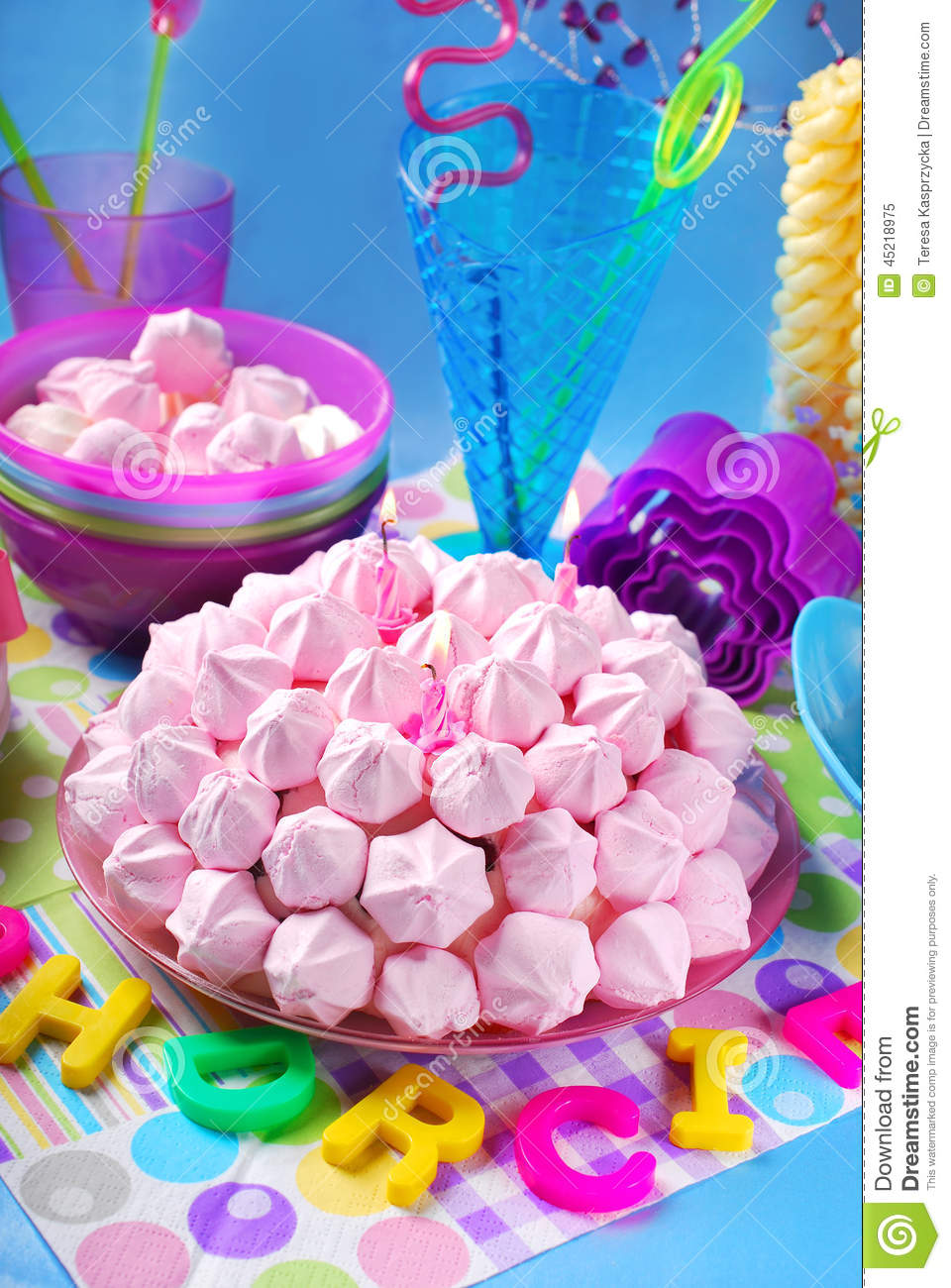 Birthday Cake With Pink Meringues And Candles Stock Photo