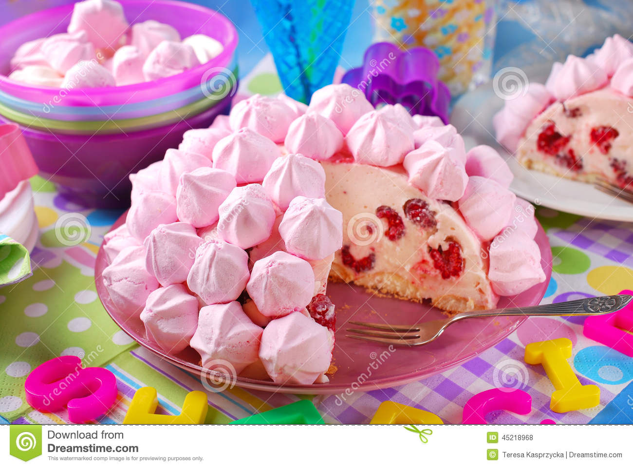 Birthday Cake With Pink Meringues And Raspberries Stock Photo