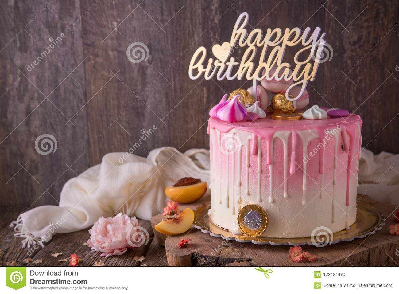 Swell Birthday Cake With Pink White Stains Stock Photo Image Of Figs Birthday Cards Printable Riciscafe Filternl