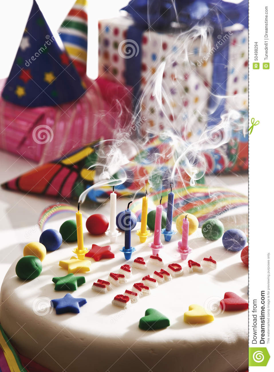 Marvelous Birthday Cake And Presents Stock Photo Image Of Decoration 50498294 Funny Birthday Cards Online Chimdamsfinfo