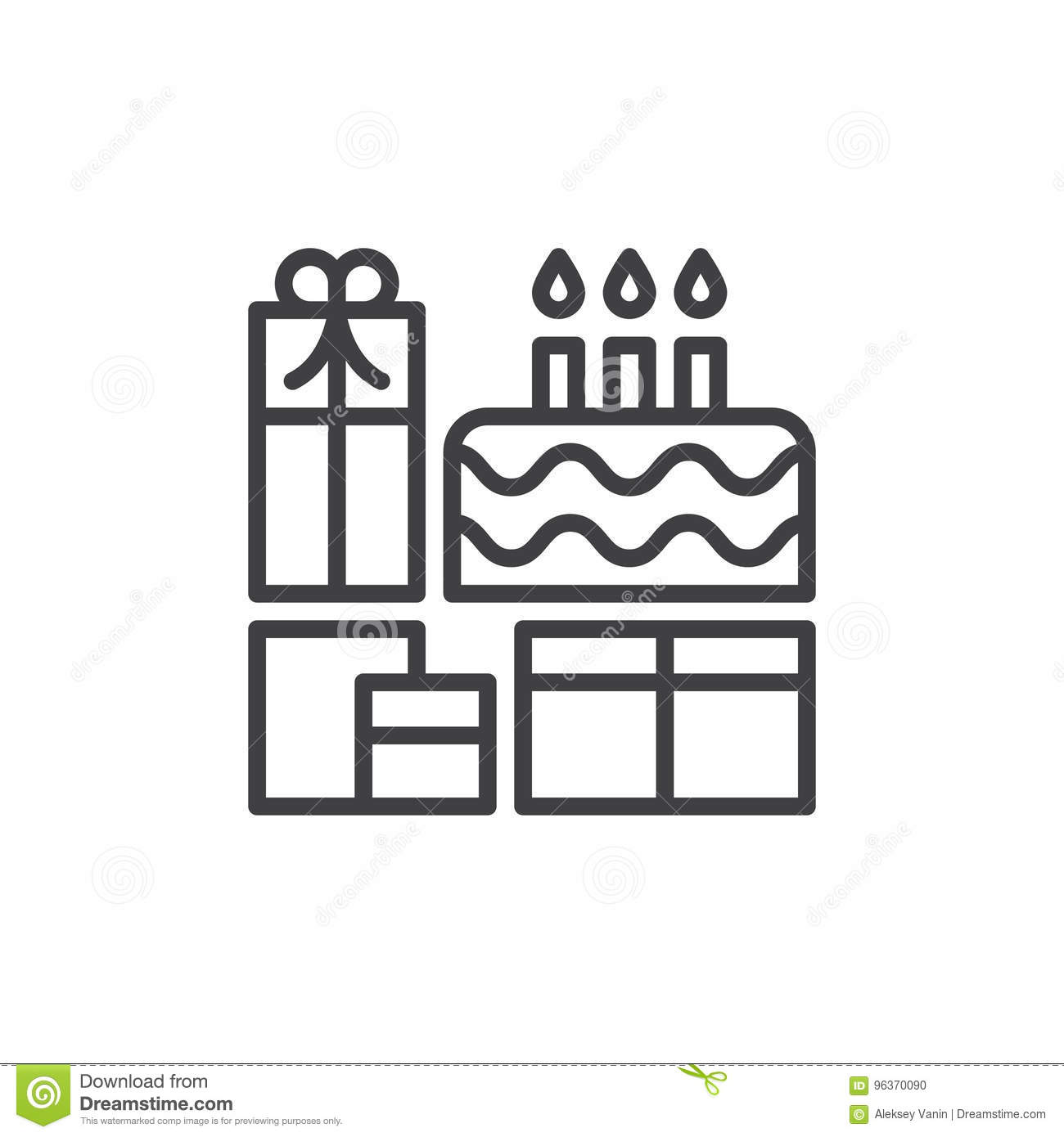 Birthday Cake And Presents Line Icon Outline Vector Sign Stock