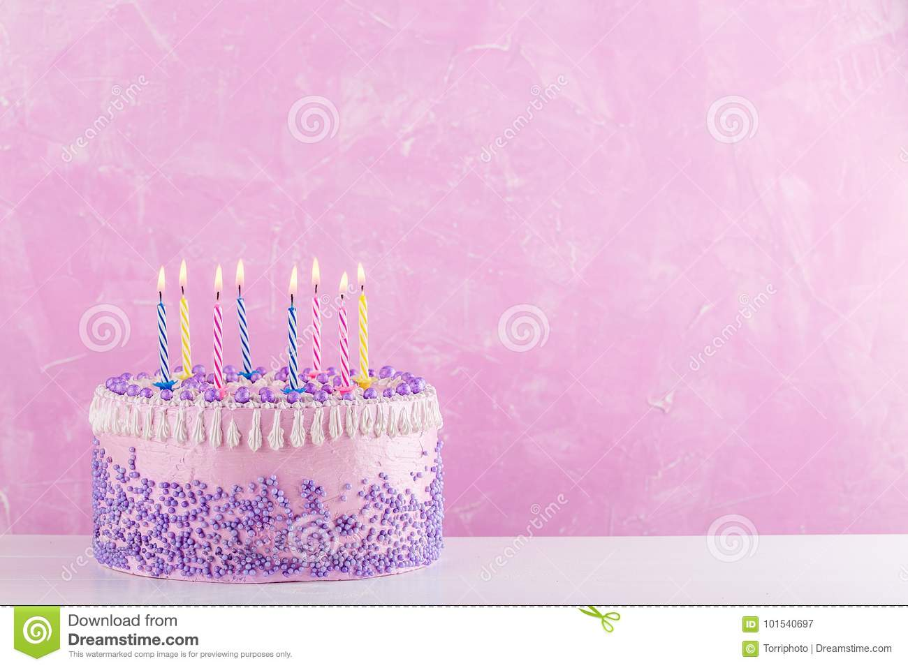 Swell Birthday Cake With Colorful Candles Over Pink Background Stock Birthday Cards Printable Opercafe Filternl