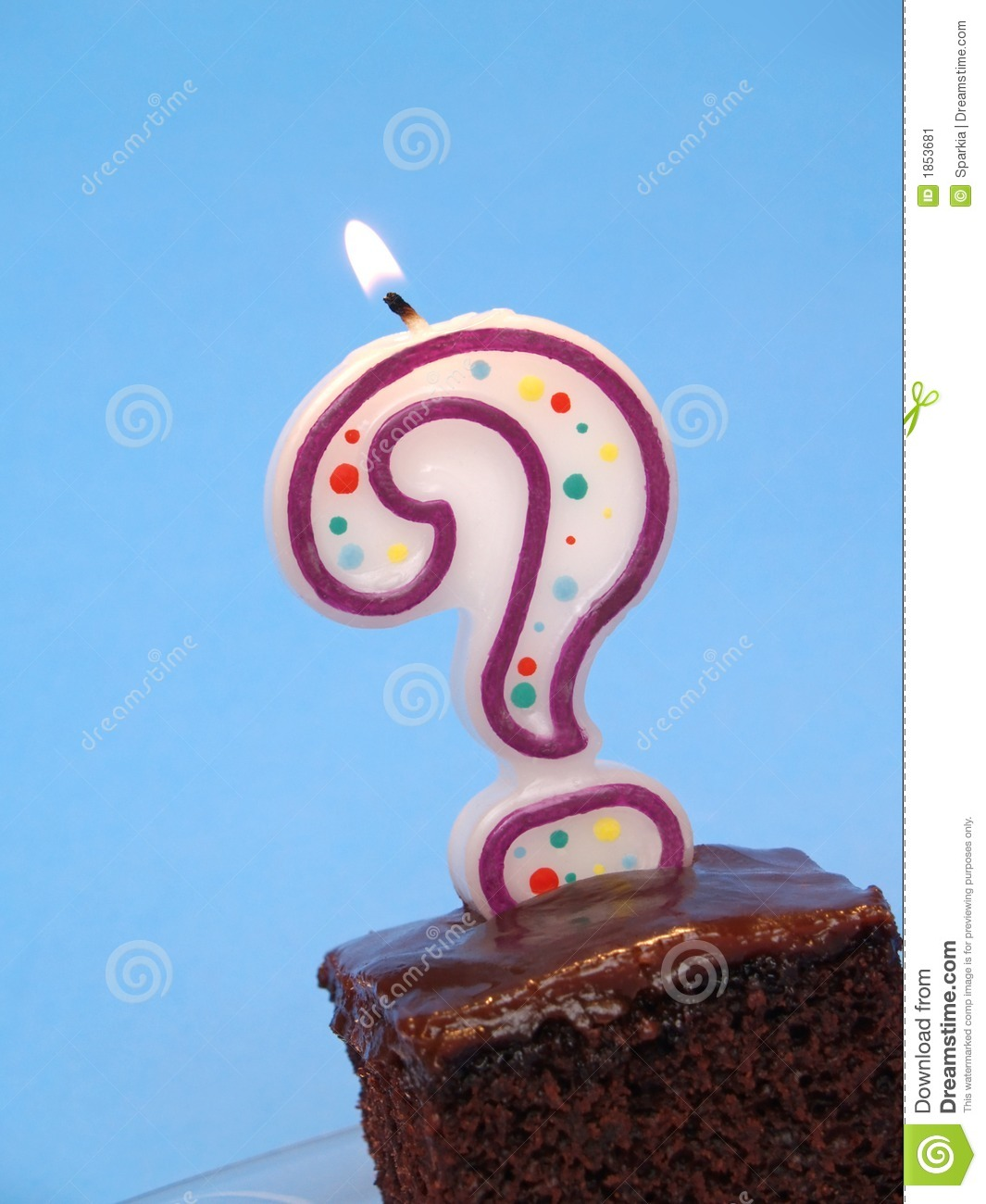 Birthday Cake With Question Candle Stock Image Image