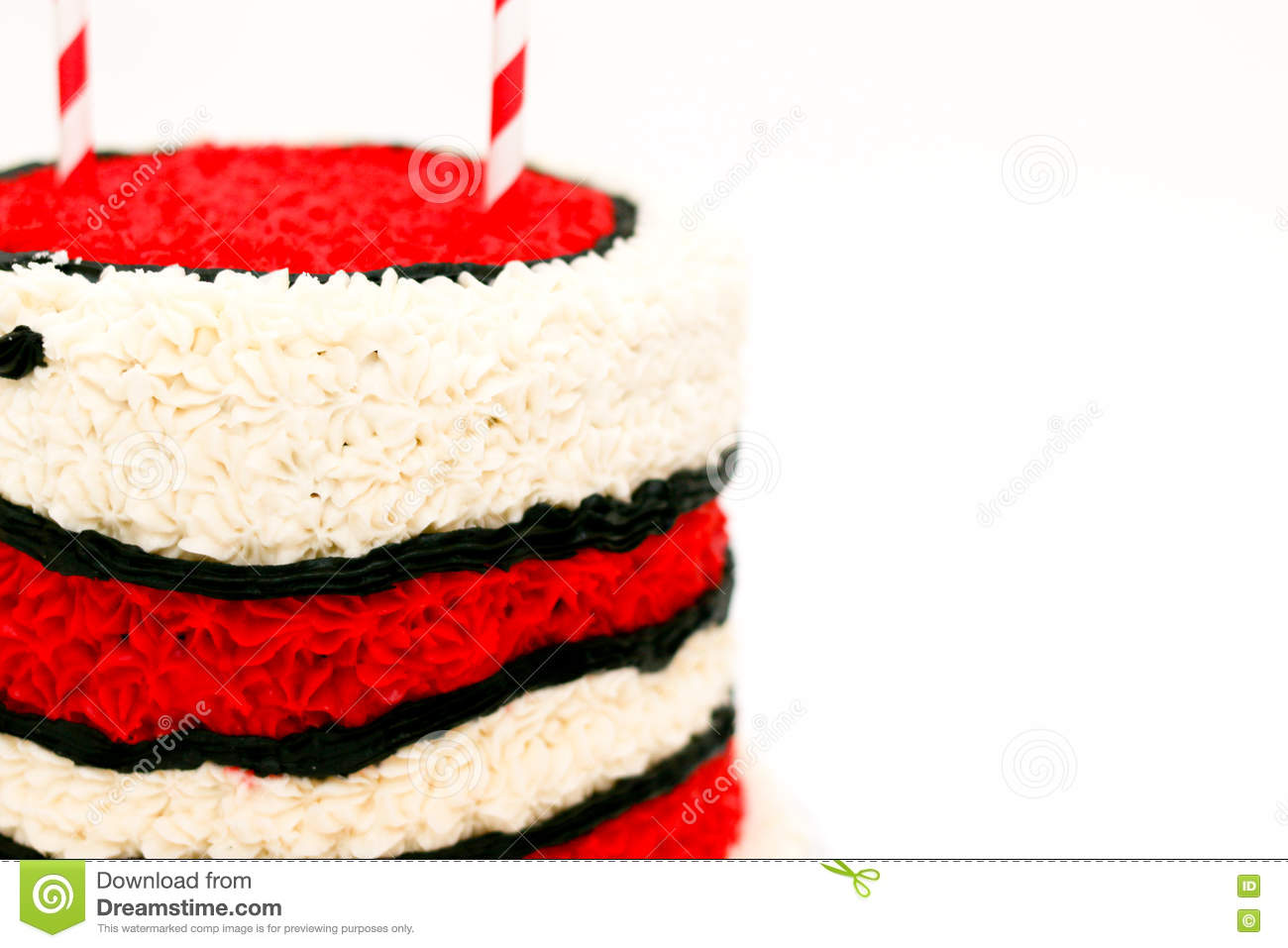 Amazing Birthday Cake With Red And White Icing Stock Photo Image Of Funny Birthday Cards Online Elaedamsfinfo