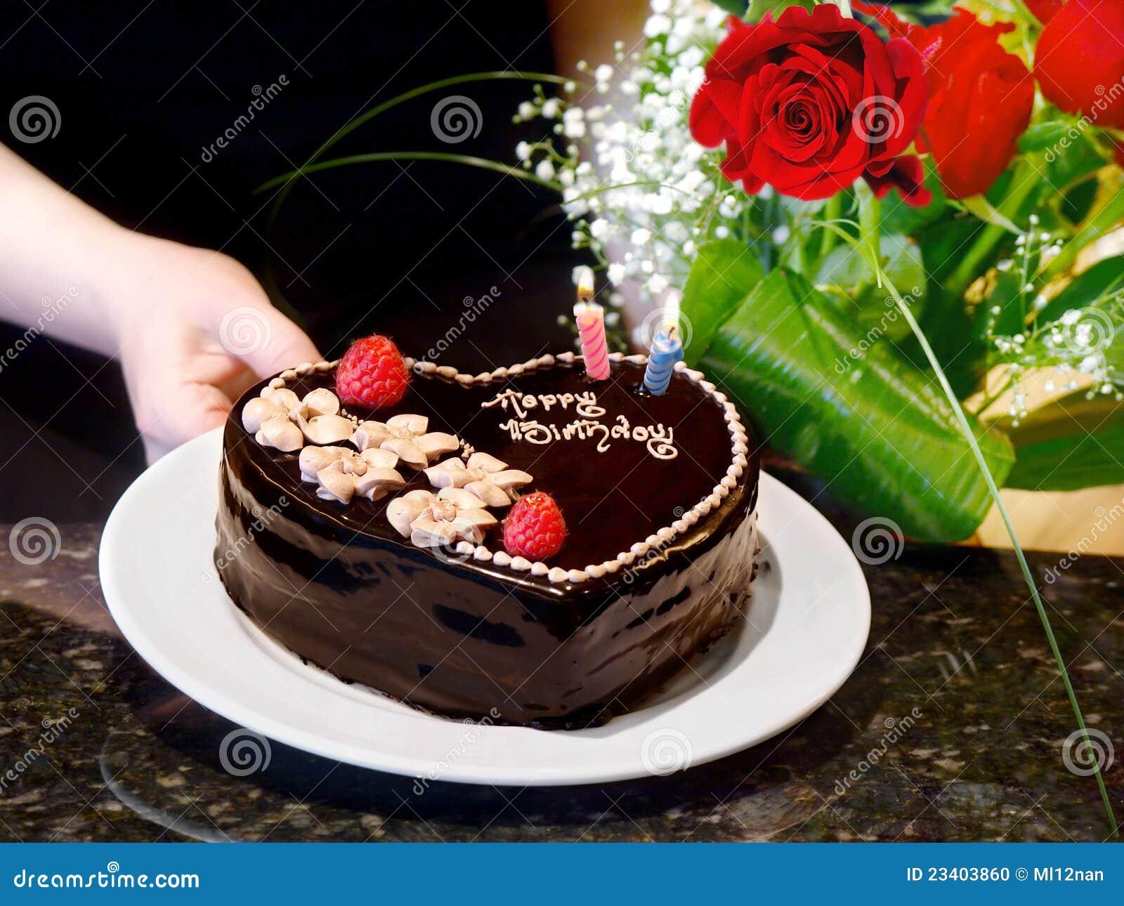Birthday Cake And Roses Stock Photo Image Of Cream Plate 23403860