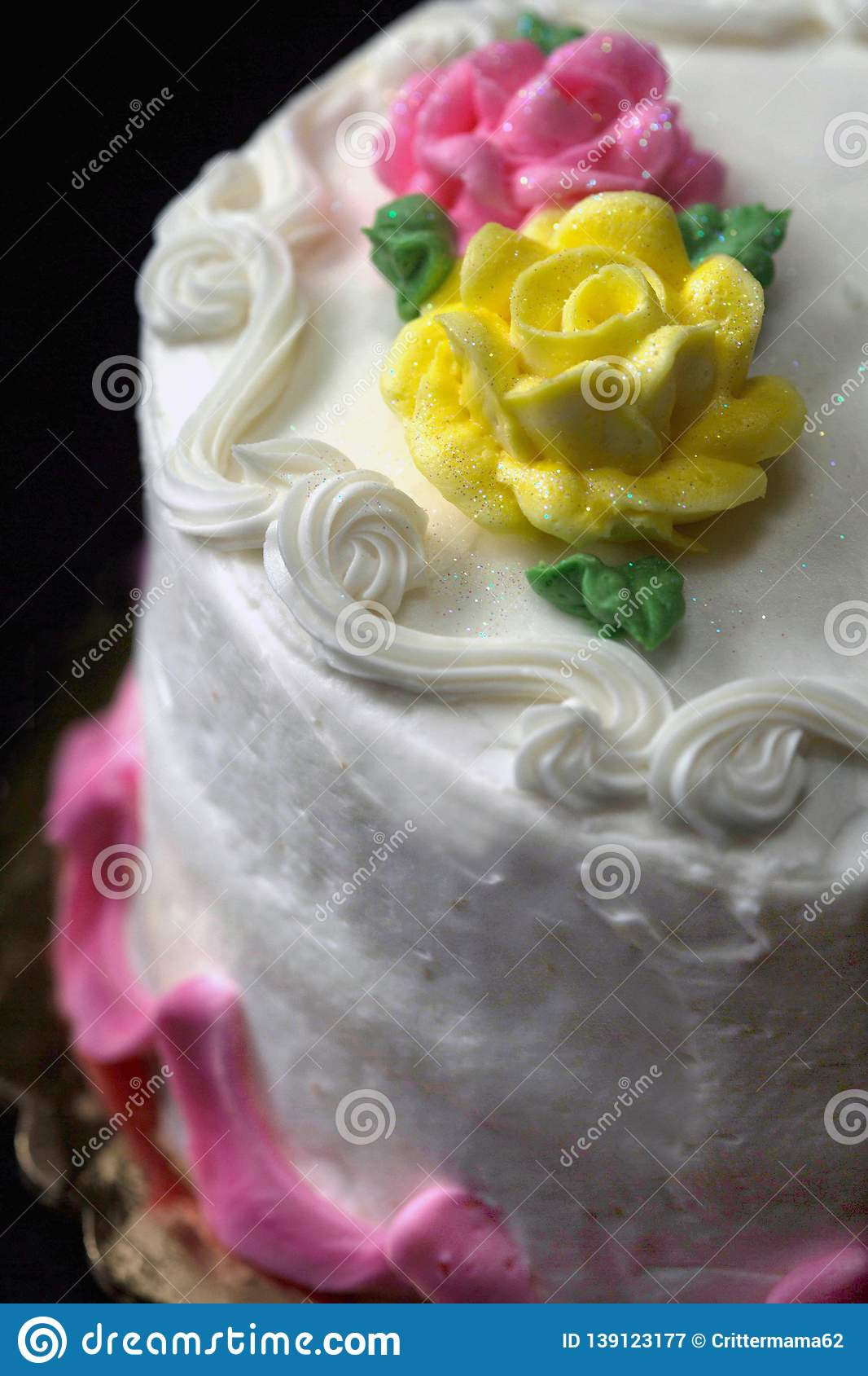 Wondrous Birthday Cake That Is Round With 2 Layers And White Frosting Stock Funny Birthday Cards Online Ioscodamsfinfo