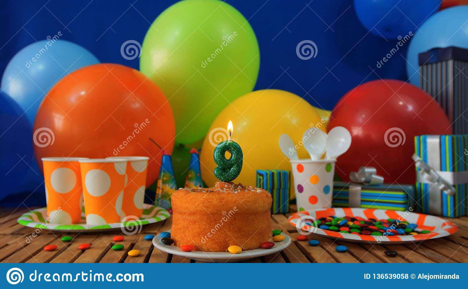 Birthday 9 Cake On Rustic Wooden Table With Background Of ...