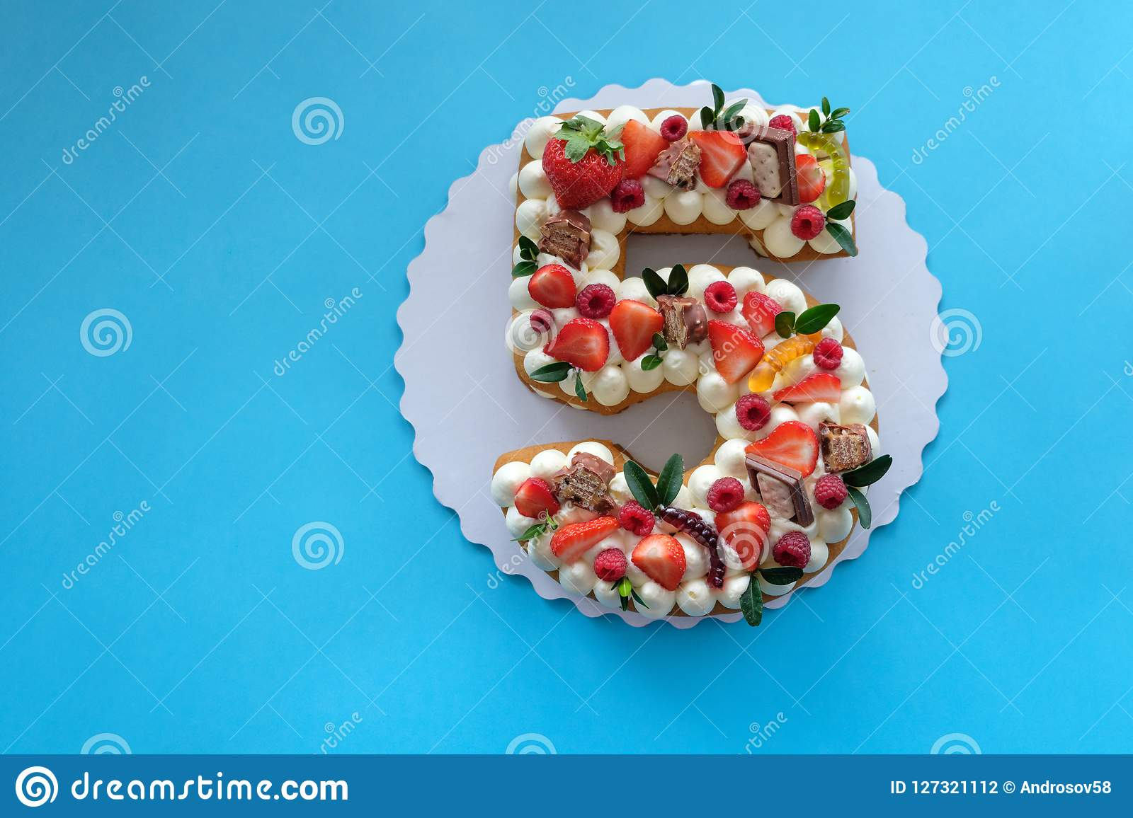 Birthday Cake In The Shape Of The Number Five Stock Photo Image Of