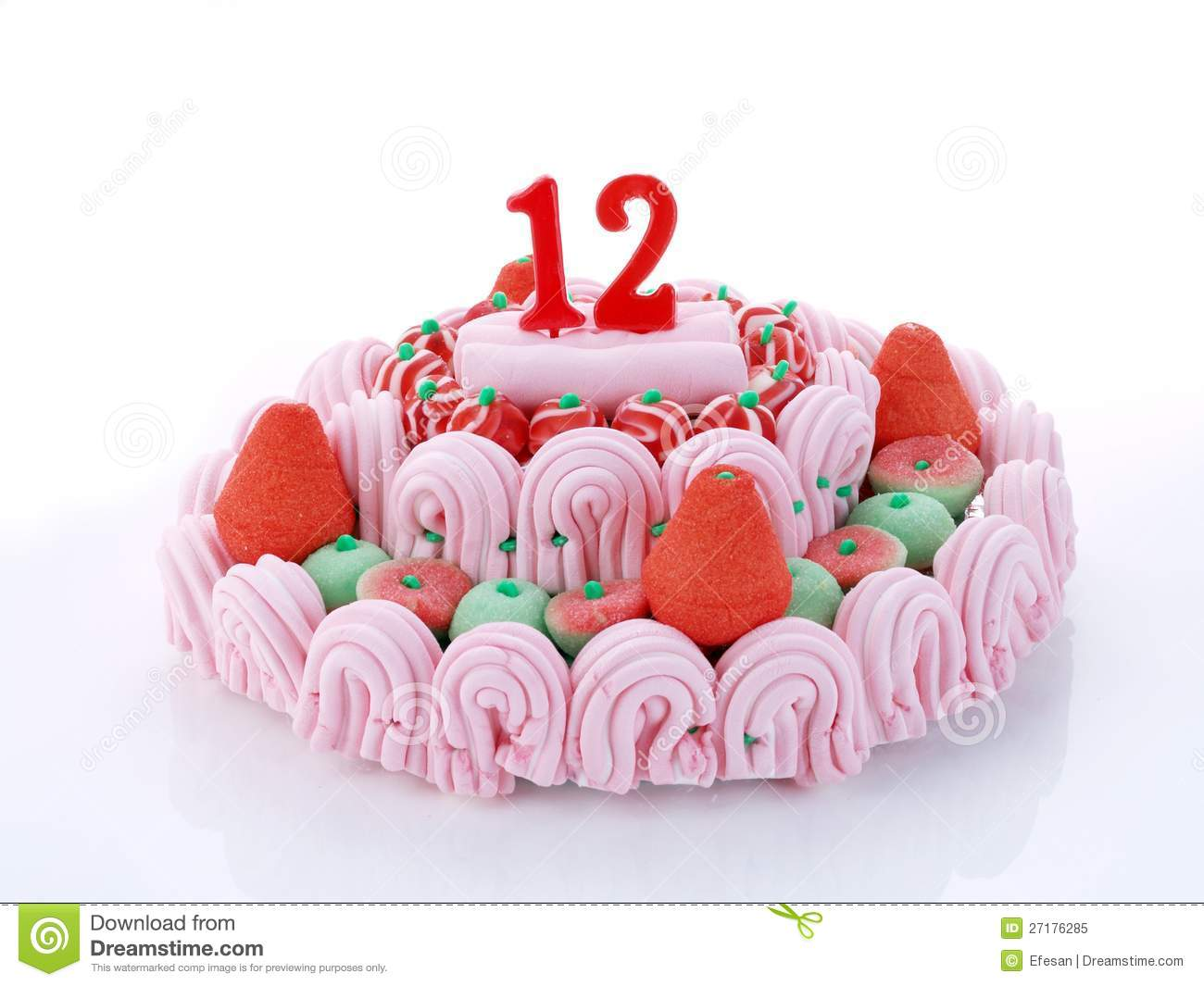 Birthday Cake With Red Candles Showing Nr 12
