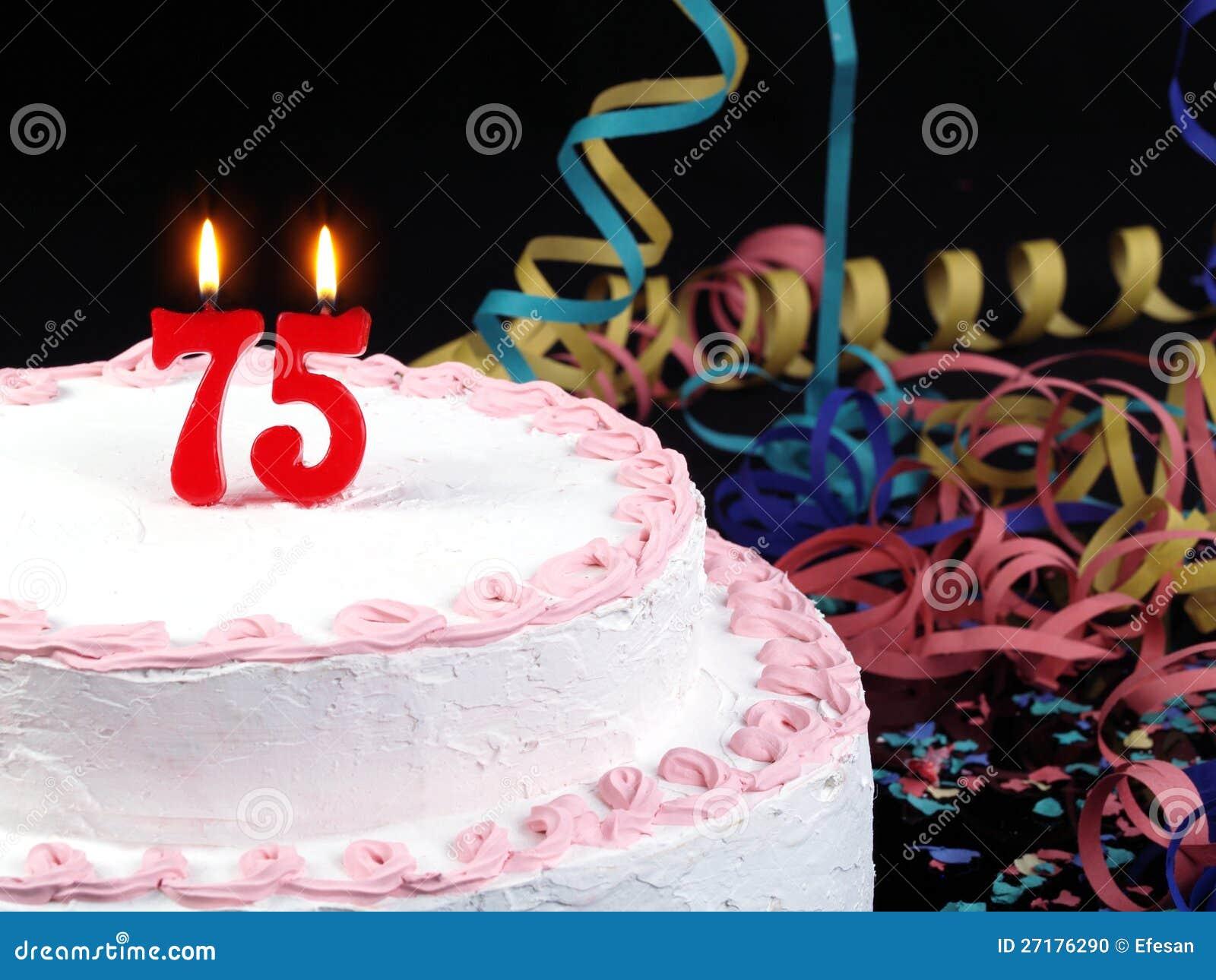 Birthday Cake Showing Nr 75 Stock Photo Image 27176290