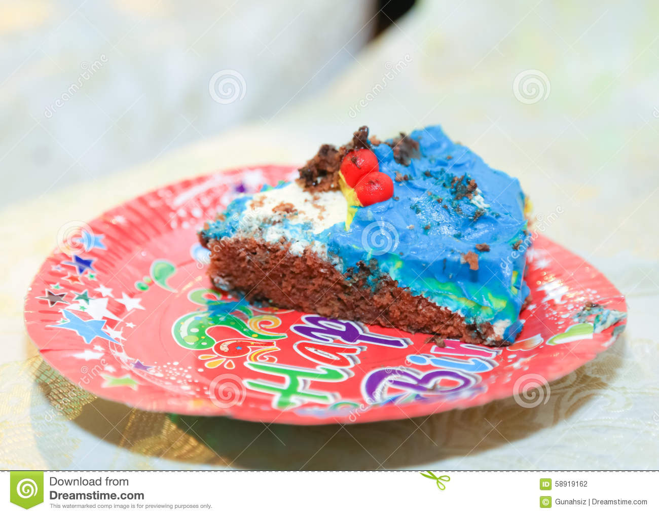 Birthday Cake Slice Stock Photo Image Of Rose Half 58919162