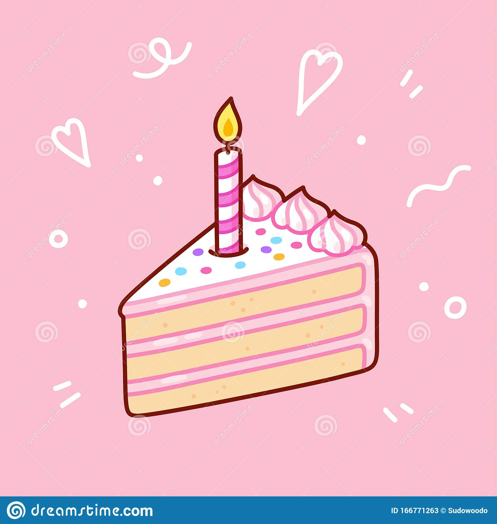 Fabulous Birthday Cake Slice With Candle Stock Vector Illustration Of Personalised Birthday Cards Paralily Jamesorg