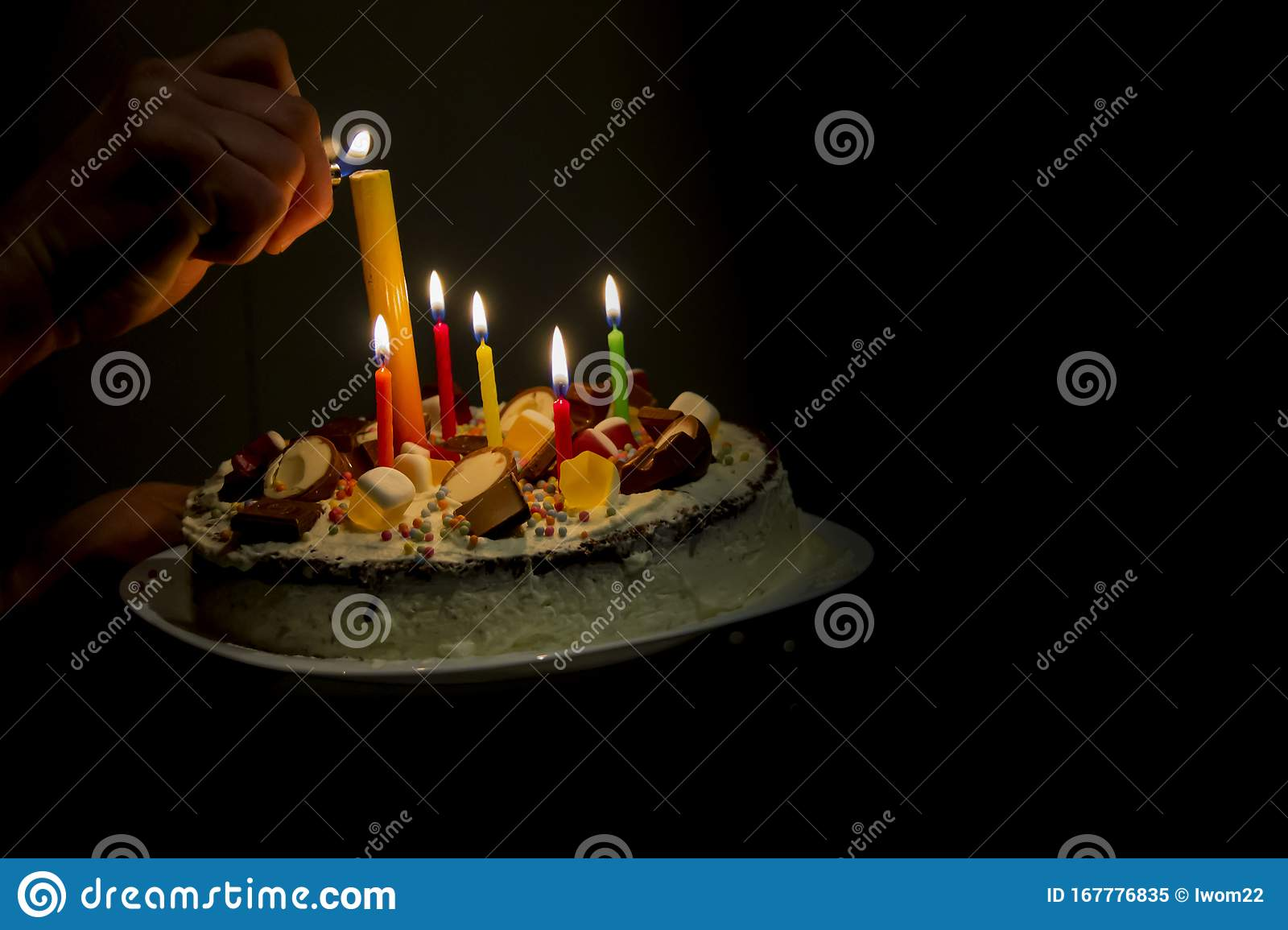 Incredible Birthday Cake For Kids Party With Burning Candles Stock Image Funny Birthday Cards Online Alyptdamsfinfo