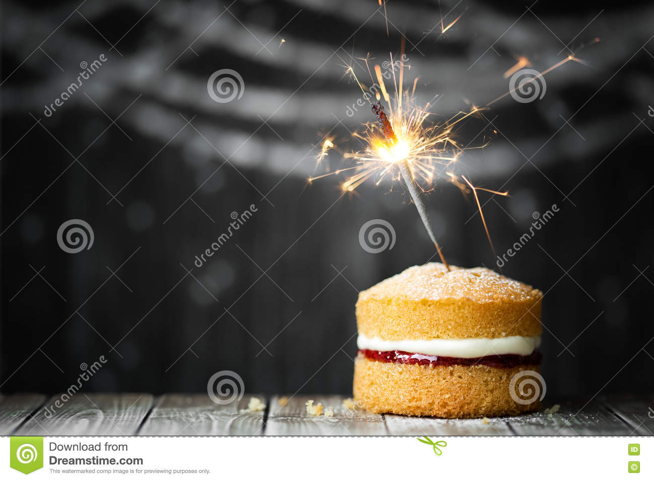Birthday Cake With Sparkler
