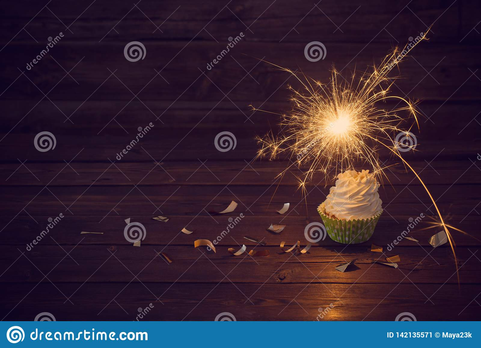 Birthday Cake Sparkler Stock Images