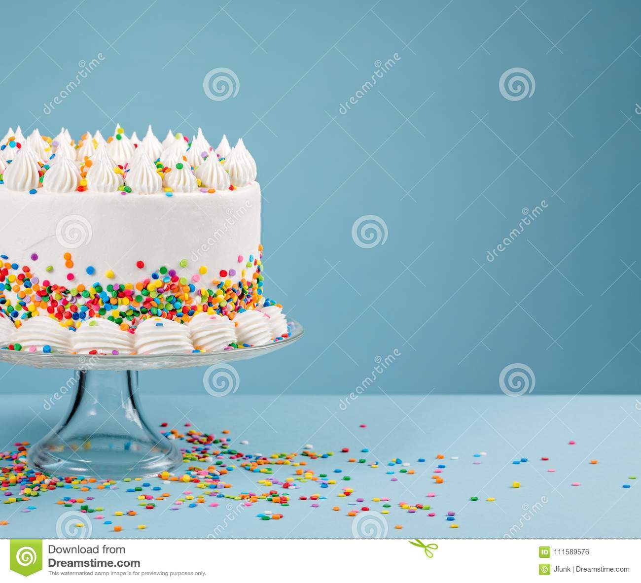 Fine Birthday Cake With Sprinkles Over Blue Stock Photo Image Of Personalised Birthday Cards Paralily Jamesorg