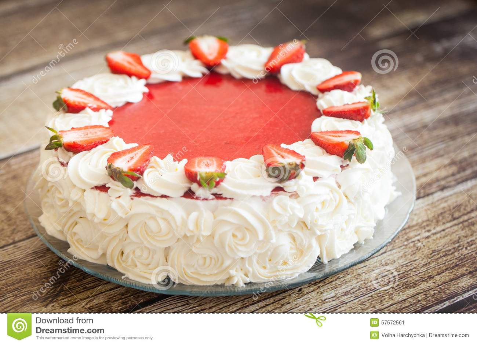 Birthday Cake With Strawberries And Cream Roses Stock Image Image